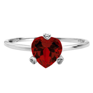 Simple Heart Shaped Garnet Gemstone Diamond White Gold Ring