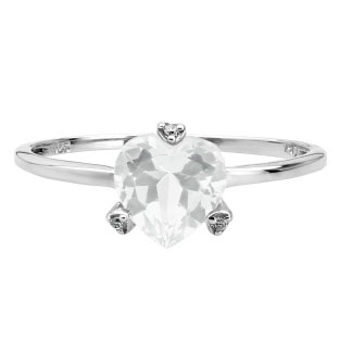 Simple Heart Shaped White Topaz Gemstone Diamond White Gold Ring