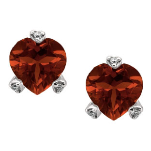 Simple Heart Shaped Garnet Gemstone Diamond White Gold Earrings