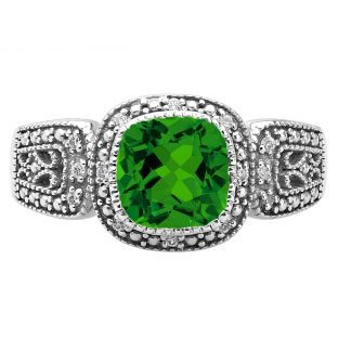 Cushion-Cut Emerald White Gold Diamond Filigree Vintage Style Ring