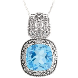 Cushion-Cut Blue Topaz Sterling Silver Diamond Filigree Vintage Style Pendant
