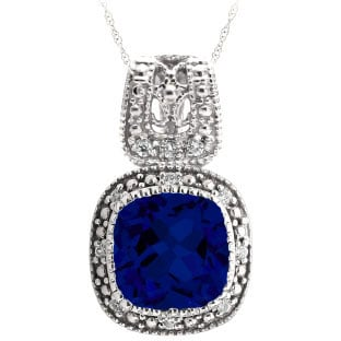 Cushion-Cut Blue Sapphire Sterling Silver Diamond Filigree Vintage Style Pendant
