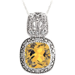 Cushion-Cut Citrine White Gold Diamond Filigree Vintage Style Pendant