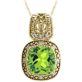 Cushion-Cut Peridot Yellow Gold Diamond Filigree Vintage Style Pendant