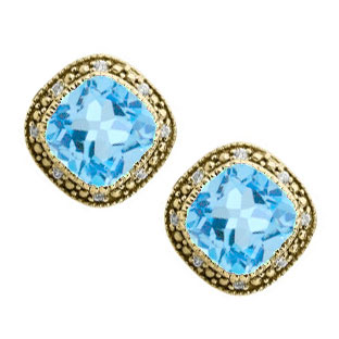 Cushion-Cut Blue Topaz Yellow Gold Diamond Filigree Vintage Style Earrings