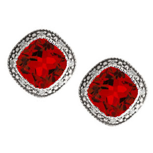 Cushion-Cut Ruby White Gold Diamond Filigree Vintage Style Earrings