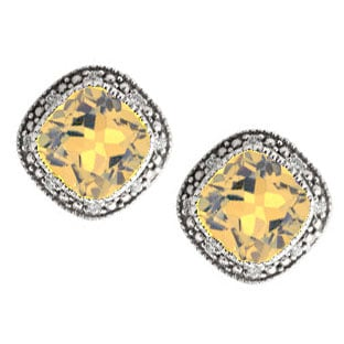 Cushion-Cut Citrine Sterling Silver Diamond Filigree Vintage Style Earrings