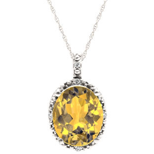 Simple Oval Cut Citrine Diamond White Gold Pendant For Women