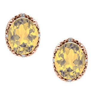Simple Oval Cut Citrine Diamond Rose Gold Stud Earrings For Women