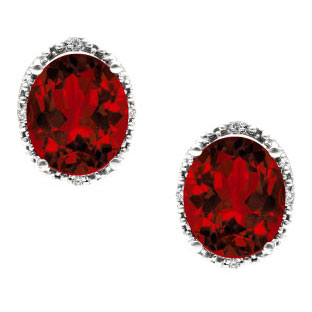 Simple Oval Cut Garnet Diamond White Gold Stud Earrings For Women