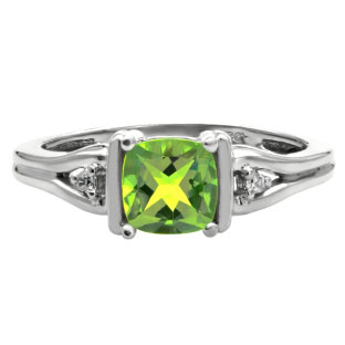 Simple Cushion Cut Peridot Birthstone Diamond White Gold Ring Jewelry