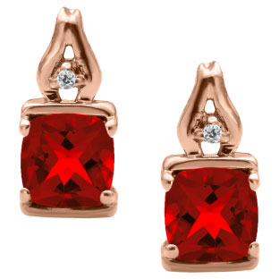 Simple Cushion Cut Ruby Birthstone Diamond Rose Gold Earrings Jewelry