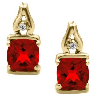 Simple Cushion Cut Ruby Birthstone Diamond Yellow Gold Earrings Jewelry