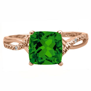 Rose Gold Cushion-Cut Emerald Birthstone Diamond Ring Jewelry