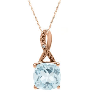 Rose Gold Cushion-Cut Aquamarine Birthstone Diamond Pendant Jewelry