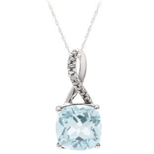Sterling Silver Cushion-Cut Aquamarine Birthstone Diamond Pendant Jewelry