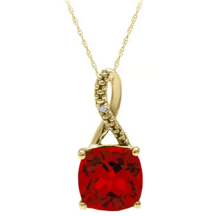 Yellow Gold Cushion-Cut Ruby Birthstone Diamond Pendant Jewelry