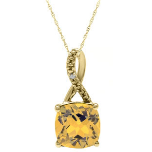 Yellow Gold Cushion-Cut Citrine Birthstone Diamond Pendant Jewelry