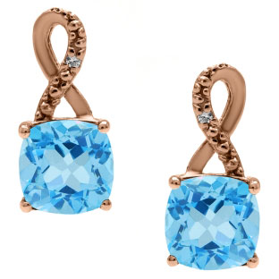 Rose Gold Cushion-Cut Blue Topaz Birthstone Diamond Drop Earrings Jewelry
