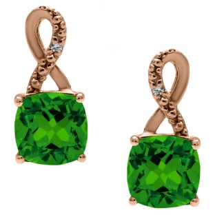 Rose Gold Cushion-Cut Emerald Birthstone Diamond Drop Earrings Jewelry
