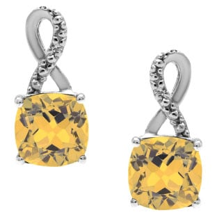 Sterling Silver Cushion-Cut Citrine Birthstone Diamond Drop Earrings Jewelry
