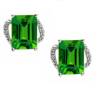Simple White Gold Emerald-Cut Emerald Diamond Earrings Jewelry
