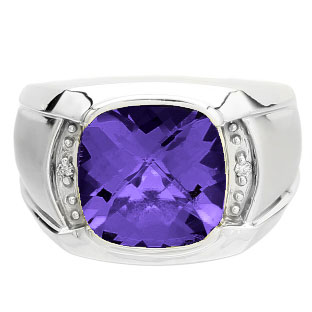 Big Mens Diamond Cushion Cut Amethyst White Gold Ring Gemologica