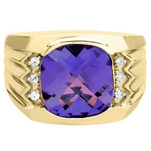 Large Men's Cushion Cut Amethyst Diamond Yellow Gold Ring