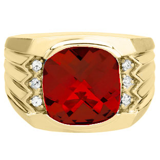 Large Men's Cushion Cut Ruby Diamond Yellow Gold Ring