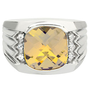Large Men's Cushion Cut Citrine Diamond White Gold Ring