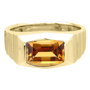 Barrel-Cut Citrine Stone Ring For Men In Yellow Gold