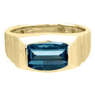 Barrel-Cut Blue Topaz Stone Ring For Men In Yellow Gold