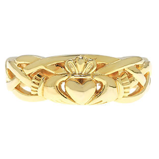 Irish Claddagh Wedding Band Set In Yellow Gold For Women