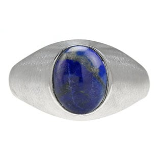 Oval-Cut Lapis Stone Custom Men's Pinky Ring In Sterling Silver