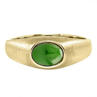East-West Oval Cut Jade Yellow Gold Pinky Ring For Men