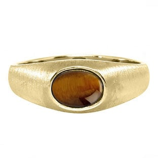 East-West Oval Cut Tiger Eye Yellow Gold Pinky Ring For Men