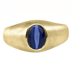 Yellow Gold Pinky Ring For Men Oval-Cut Blue Cat Eye Gemstone