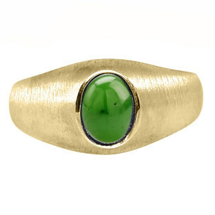 Yellow Gold Pinky Ring For Men Oval-Cut Jade Gemstone