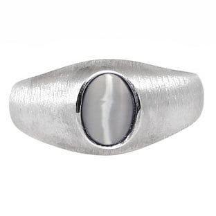 White Gold Pinky Ring For Men Oval-Cut Grey Cat Eye Gemstone