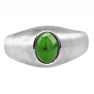 White Gold Pinky Ring For Men Oval-Cut Jade Gemstone