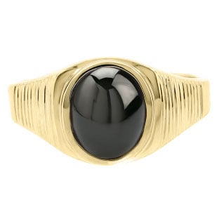 East West Oval Cut Black Star Sapphire Yellow Gold Pinky