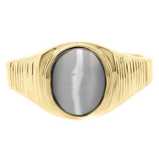 Men's Oval-Cut Grey Cat Eye Gemstone Simple Yellow Gold Ring