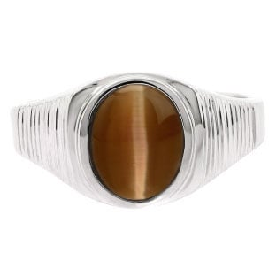 Men's Oval-Cut Brown Cat Eye Gemstone Simple Sterling Silver Ring