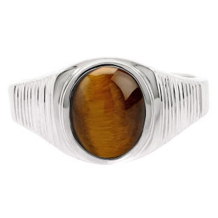Men's Oval-Cut Tiger Eye Gemstone Simple Sterling Silver Ring