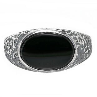 Oval-Cut Black Onyx Men's Sterling Silver Antiqued Nugget Ring