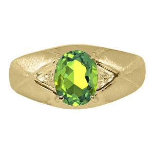 Mens Jewelry - Men's Yellow Gold Ring With Peridot Stone and Diamonds