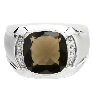 Big Men's Diamond Cushion Cut Smoky Quartz Sterling Silver Ring