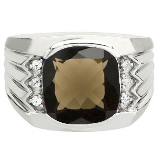 Large Men's Cushion Cut Smoky Quartz Diamond White Gold Ring