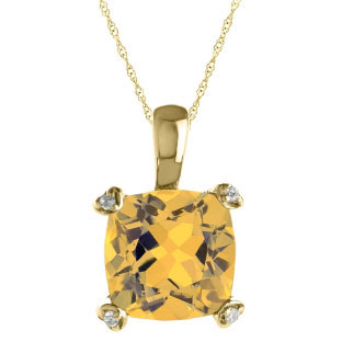 Cushion Cut Yellow Citrine Diamond Yellow Gold Simple Pendant Gemstone Jewelry