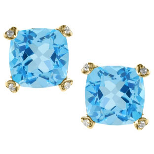 Cushion Cut Blue Topaz Diamond Yellow Gold Simple Earrings Gemstone Jewelry